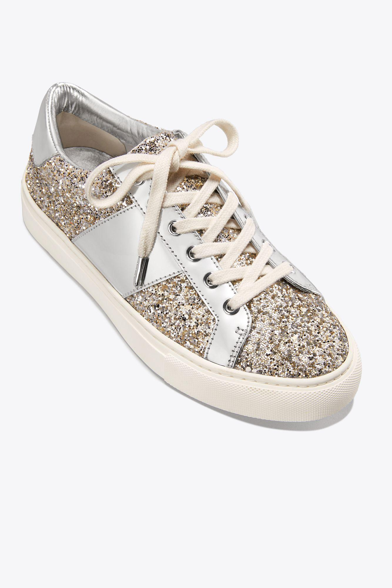 1fb36c258 Lyst - Tory Burch Carter Glitter Lace-up Sneaker