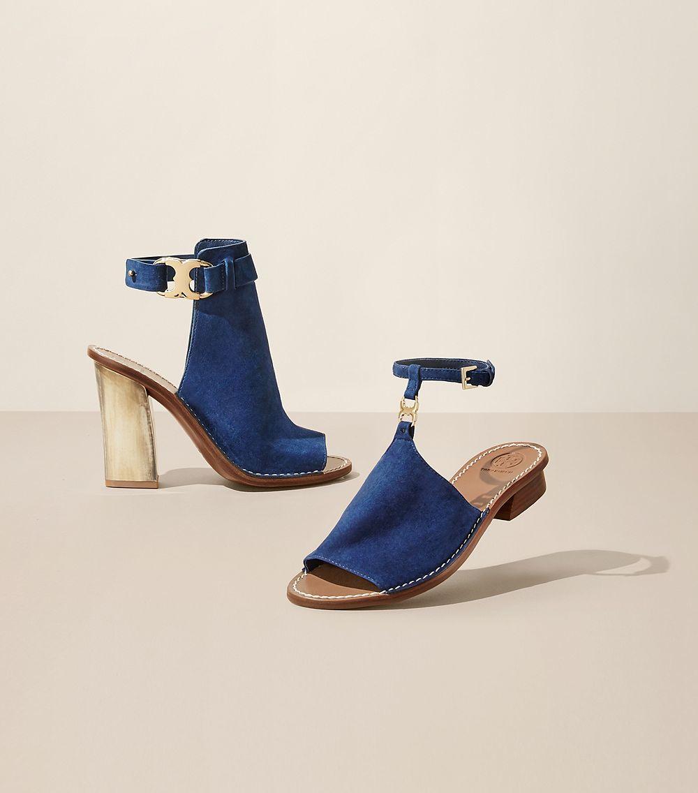 cc93054b8aa Lyst - Tory Burch Gemini Link Peep-toe Sandal in Blue