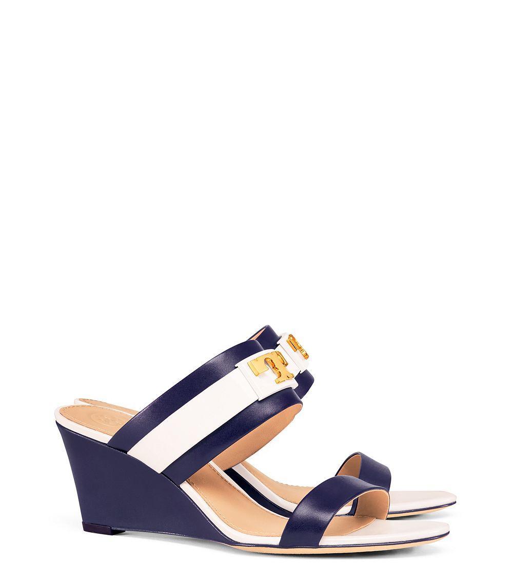 a9fc7ef2d4652 ... sale lyst tory burch gigi wedge sandal in blue 9b312 60329