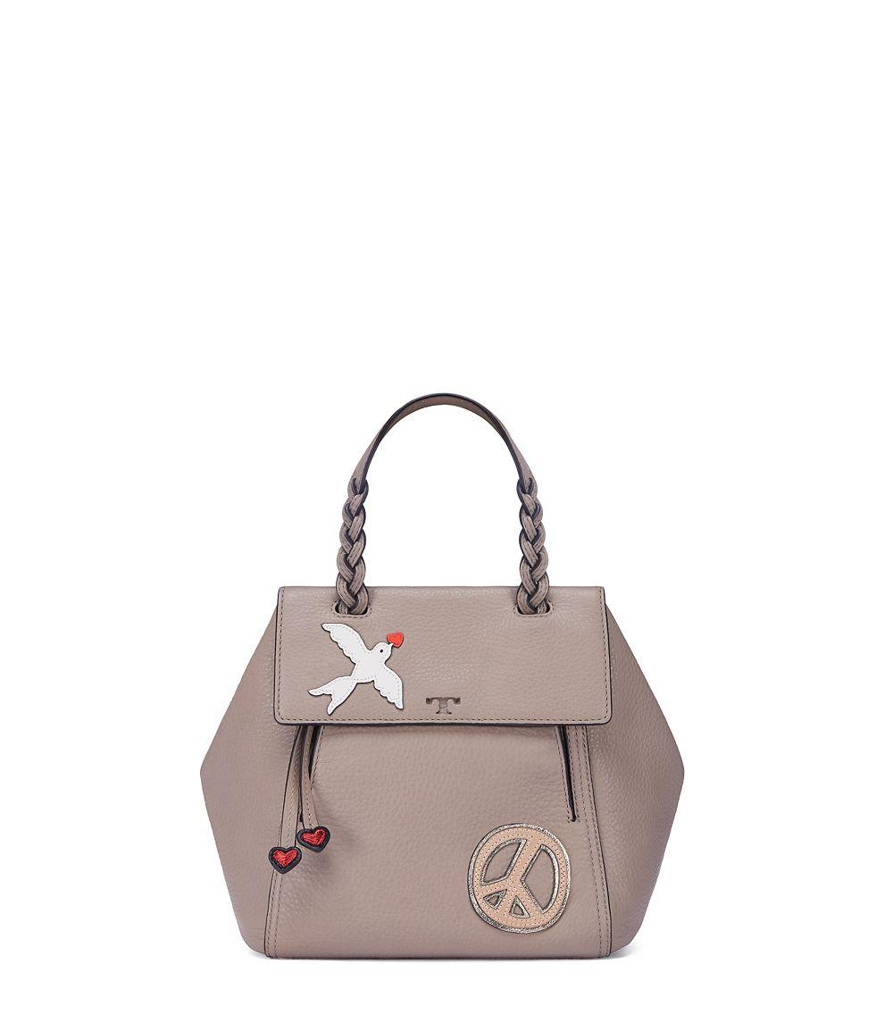 d6dad690ecb Lyst - Tory Burch Peace Embellished Half-Moon Small Leather Satchel ...