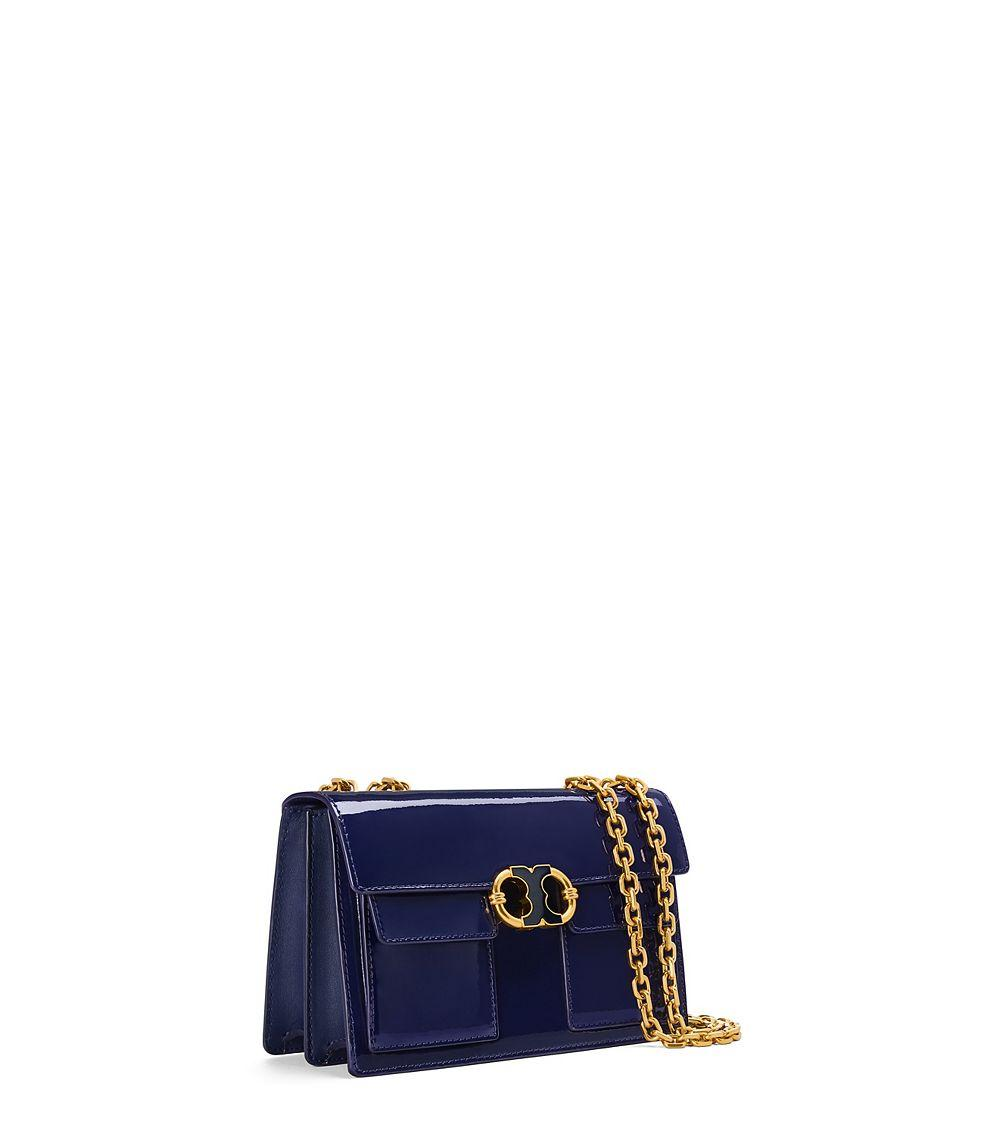 d534be7ad68 Lyst - Tory Burch Gemini Link Patent Chain Shoulder Bag in Blue