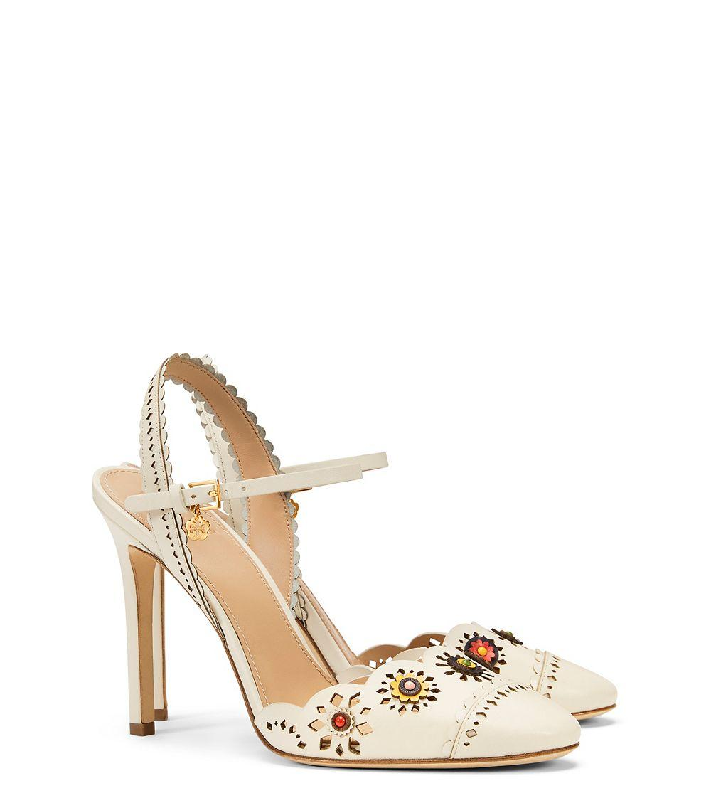 cf9a8b28e62d Tory Burch Marguerite Perforated Slingback Sandal in White - Lyst
