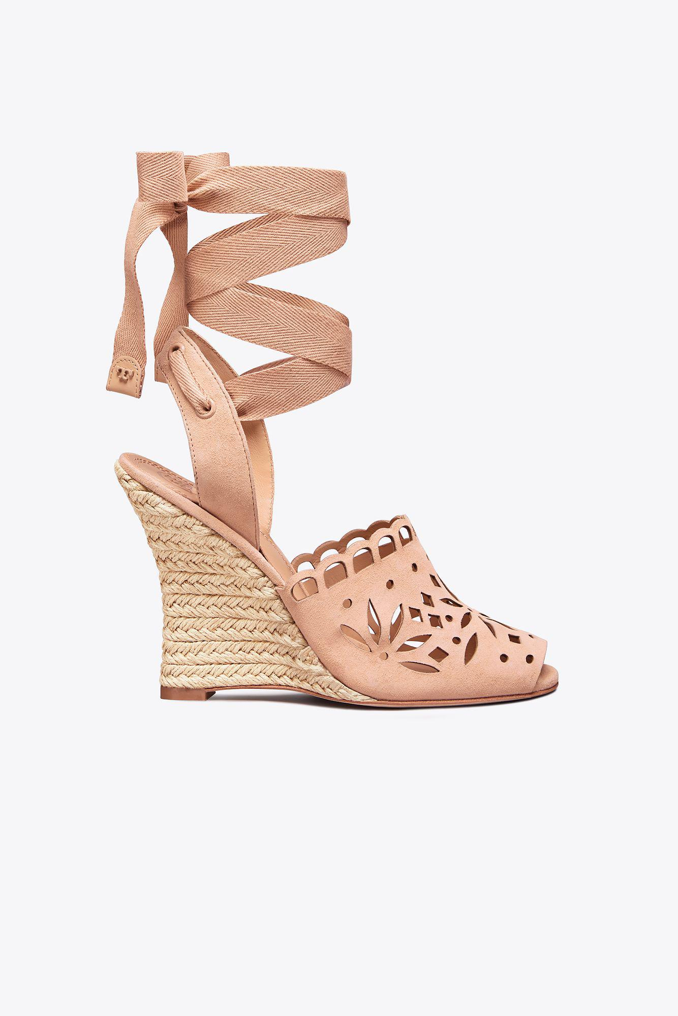 71ec11ff882 Lyst - Tory Burch May Lace-up Wedge