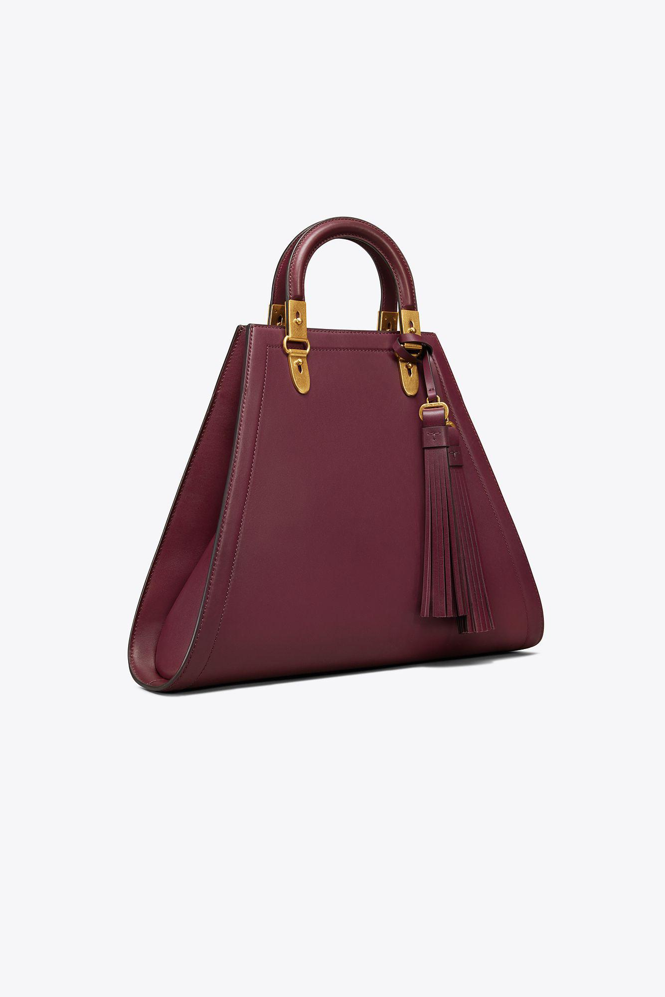 61b765560a Lyst - Tory Burch Woman Tasseled Leather Tote Grape in Red