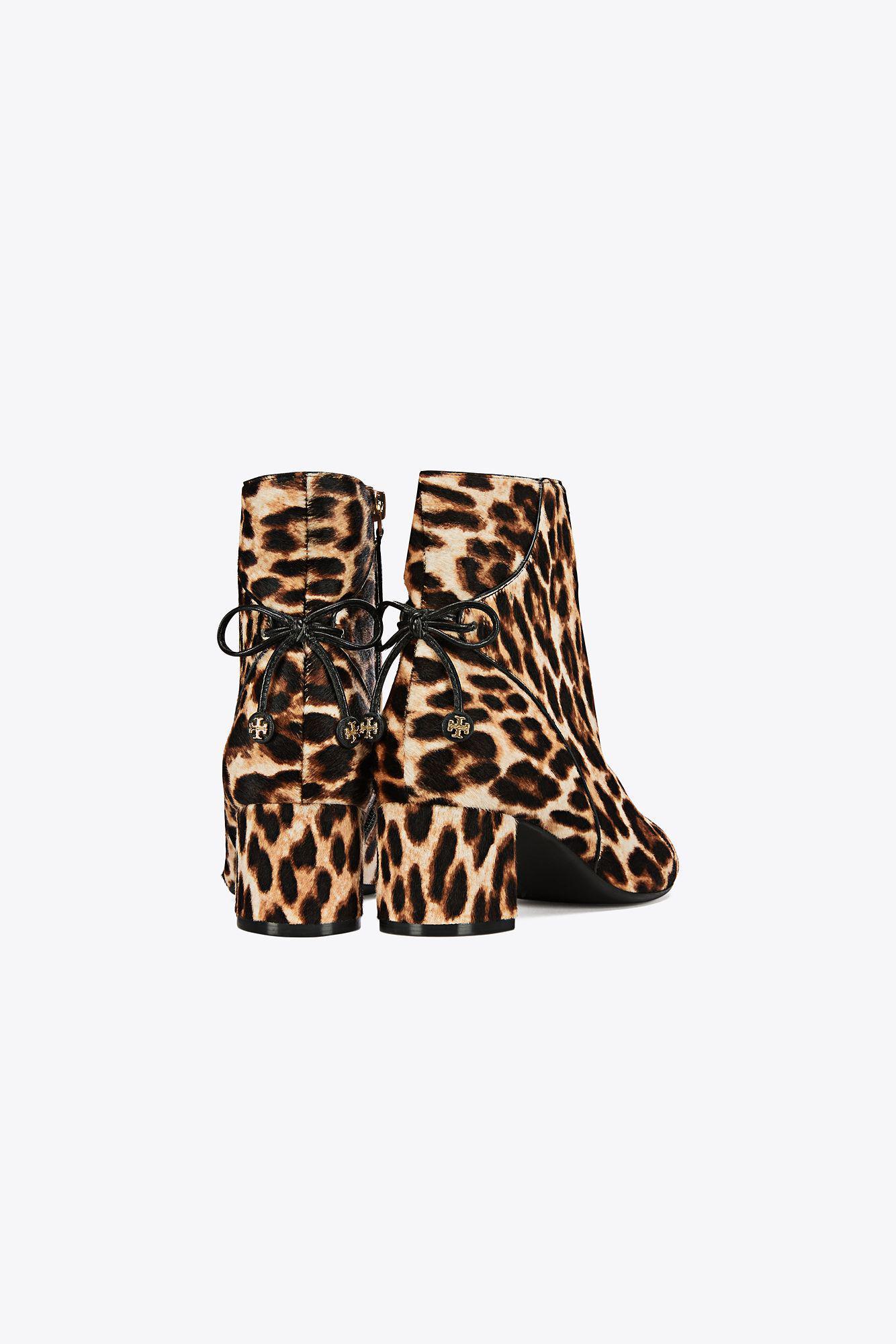 0701941cdba6 Tory Burch Woman Bow-detailed Leopard-print Calf Hair Ankle Boots ...