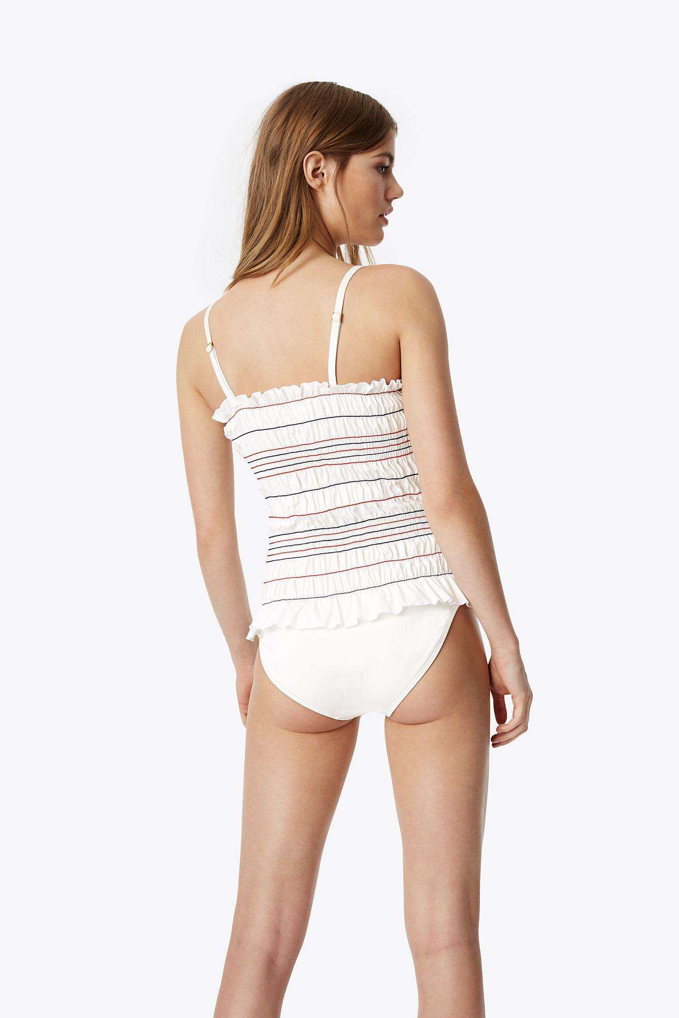 4788eaeccc7f5 Tory Burch Costa One Piece Swimsuit in White - Lyst