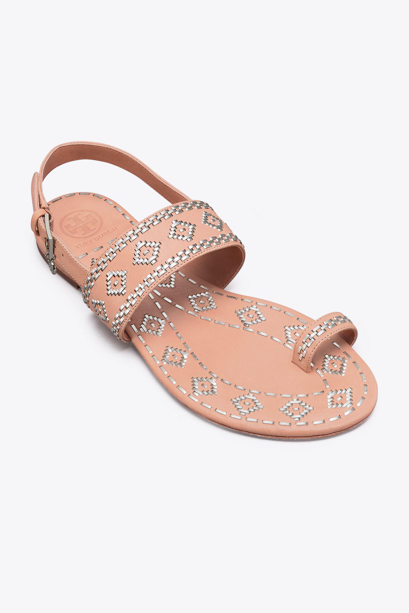 6a1520701ad7 Lyst - Tory Burch Blake Metallic-stitch Ankle-strap Sandal