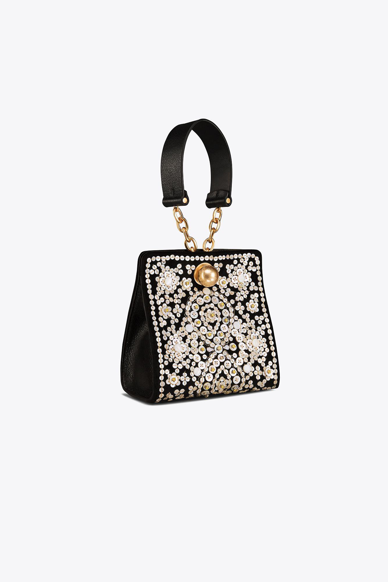 5ff7bfd5e09d Lyst - Tory Burch Darcy Embellished Clutch in Black