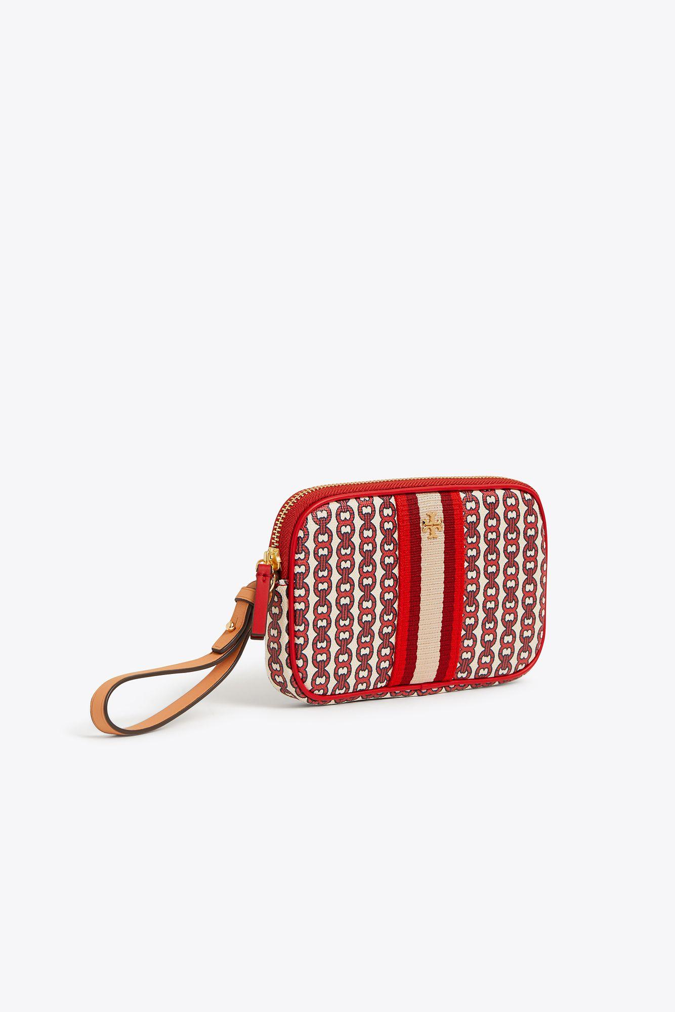 42e89df60aa8 Lyst - Tory Burch Gemini Link Canvas Wallet in Red - Save 21%