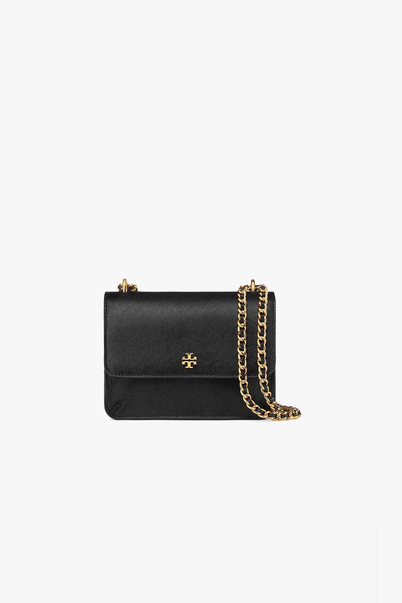9179b50561d Lyst - Tory Burch Robinson Mini Saffiano Leather Shoulder Bag in Black