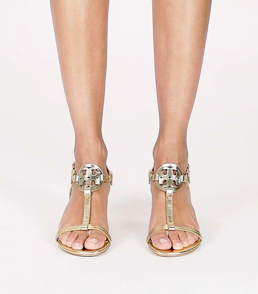 972f4196339d Lyst - Tory Burch Women s Miller Leather T-strap Block Heel Sandals ...