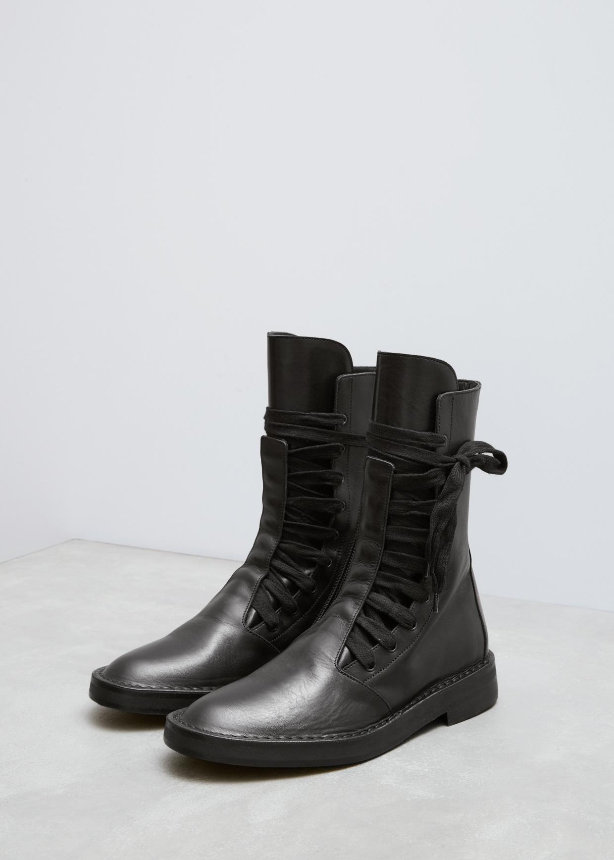 c0c666ffc0cdd Ann Demeulemeester Vitello Lux Black Wide Lace Up Boot in Black - Lyst