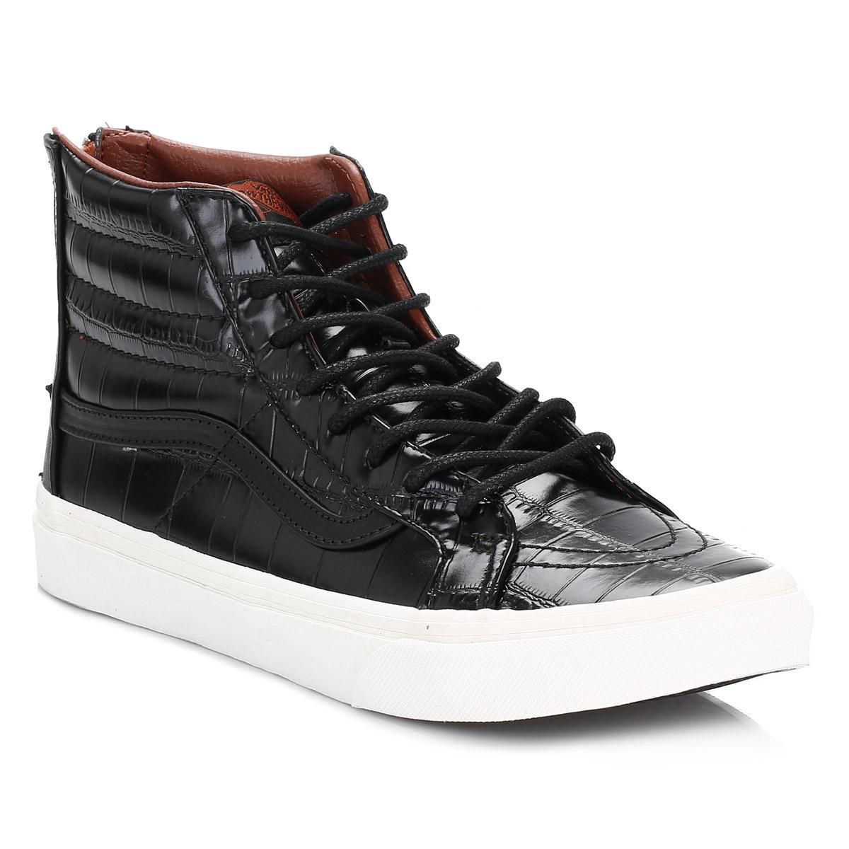 d70fc95323 Lyst - Vans Womens Black Croc Leather Sk8-hi Slim Trainers in Black