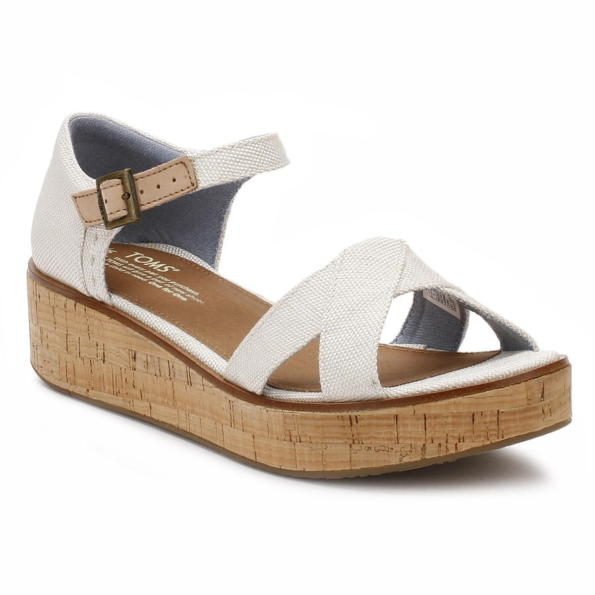c4daf8c0062c Lyst - TOMS Womens Natural Yarn Dye Harper Platform Wedge Sandals