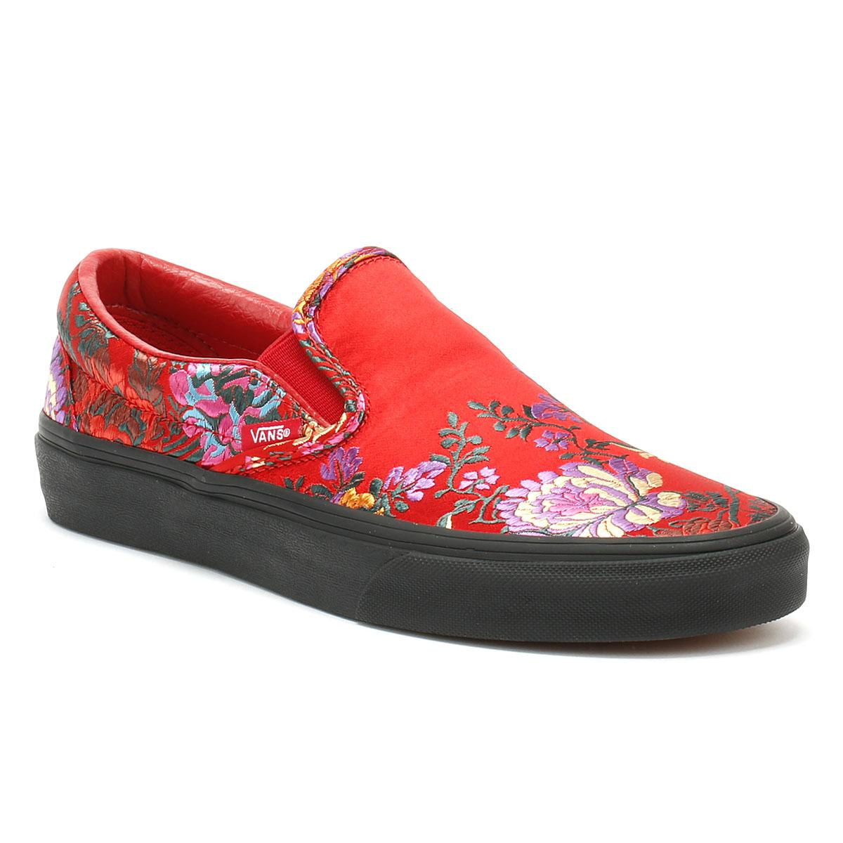 ae5a6f63081 Vans - Classic Slip On Festival Satin Womens Red Trainers - Lyst. View  fullscreen