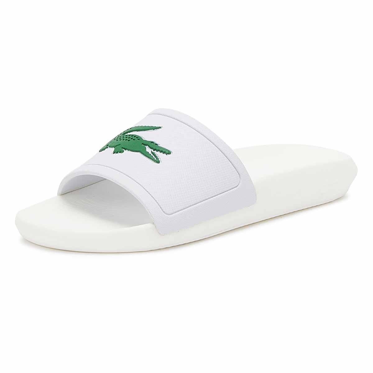d0a4a538936f Lacoste - Croco 119 1 Mens White   Green Slides for Men - Lyst. View  fullscreen