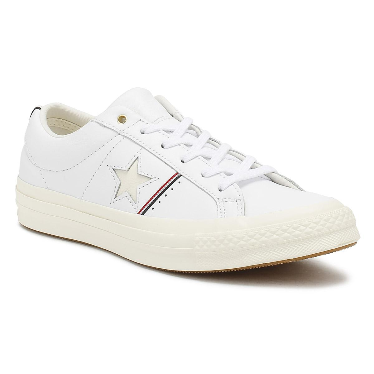 Converse One Star Shoes Egret White Red