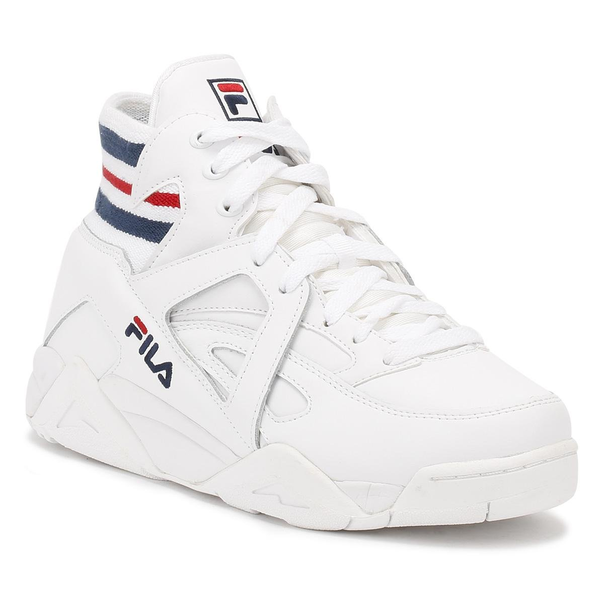 Fila Fila Mens White Navy Red Cage Sneakers Under Discount
