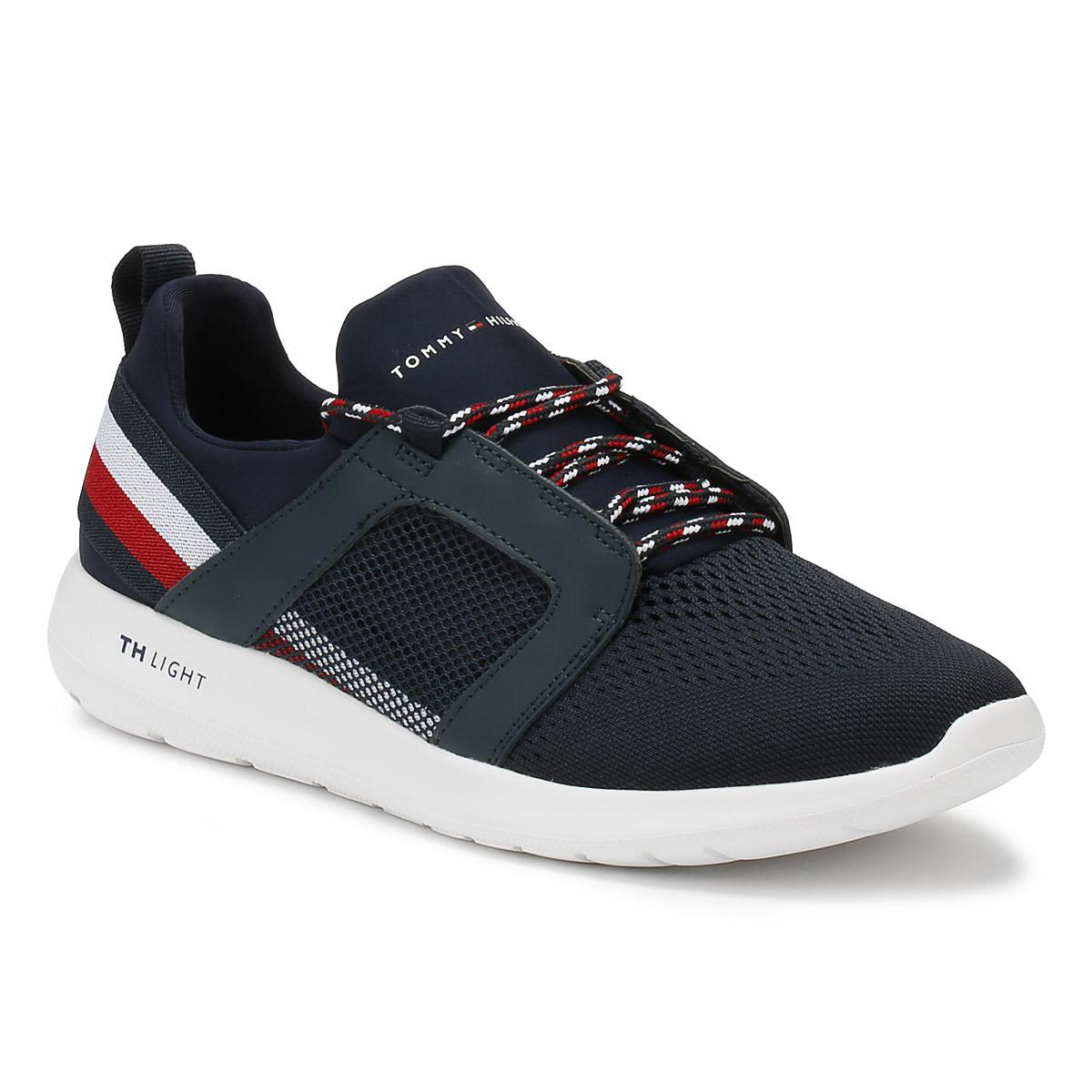 Mens Technical Material Mix Low-Top Sneakers, Midnight Blue Tommy Hilfiger
