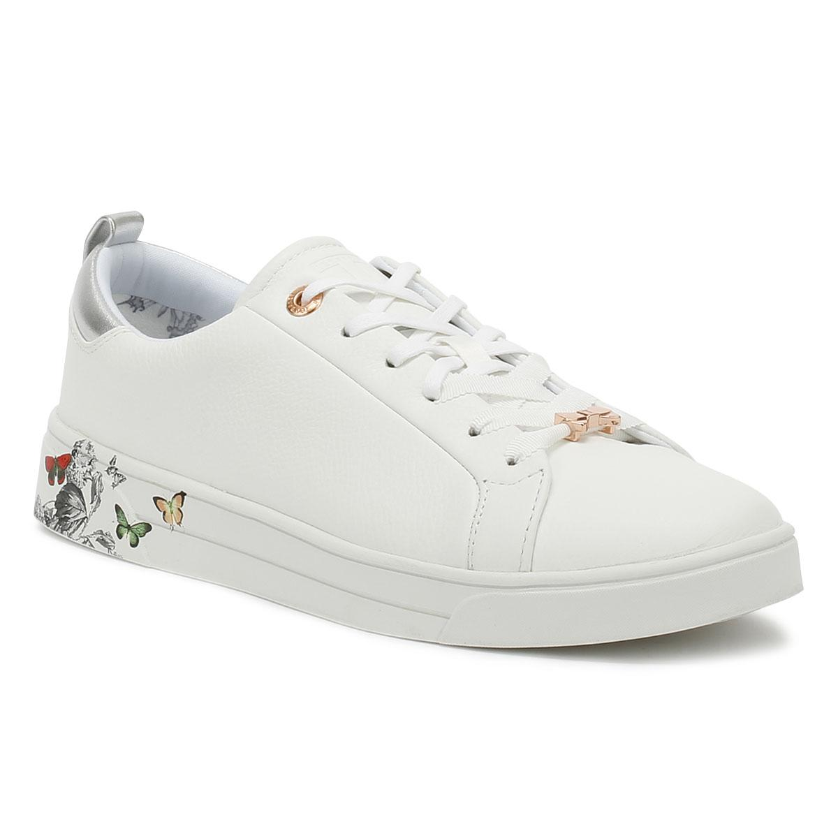ff44778a0dcc Lyst - Ted Baker Mispir Womens White Narnia Leather Trainers in ...