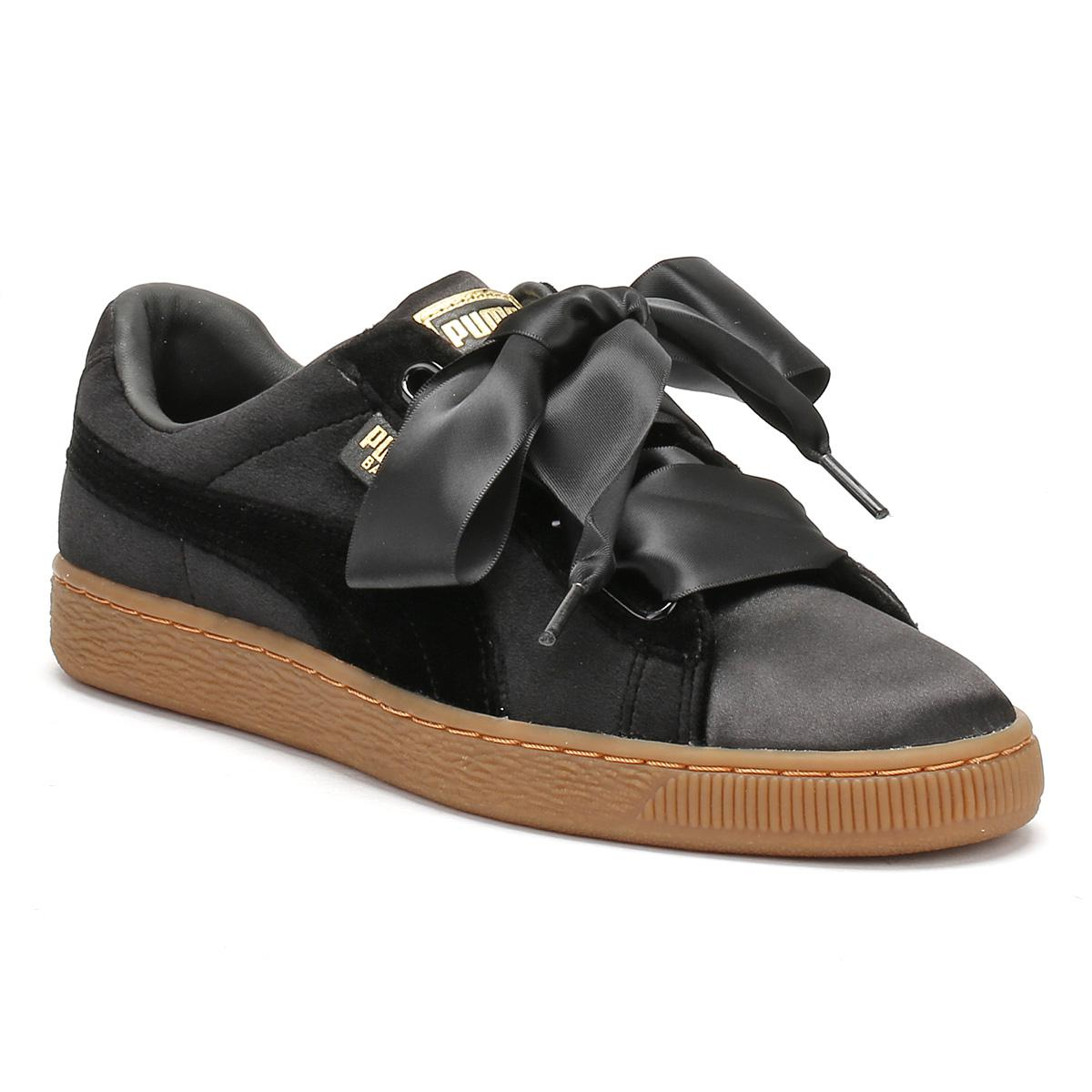 357b35ece3e Lyst - PUMA Womens Black   Gum Suede Basket Heart Trainers in Black ...