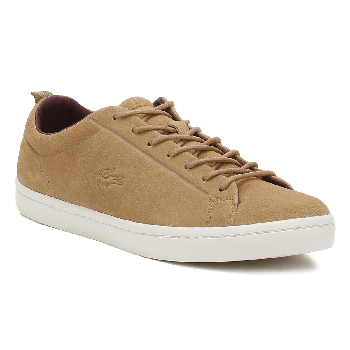 4ad21bb77 Lacoste Mens Light Tan Straightset 317 3 Trainers in Brown for Men ...