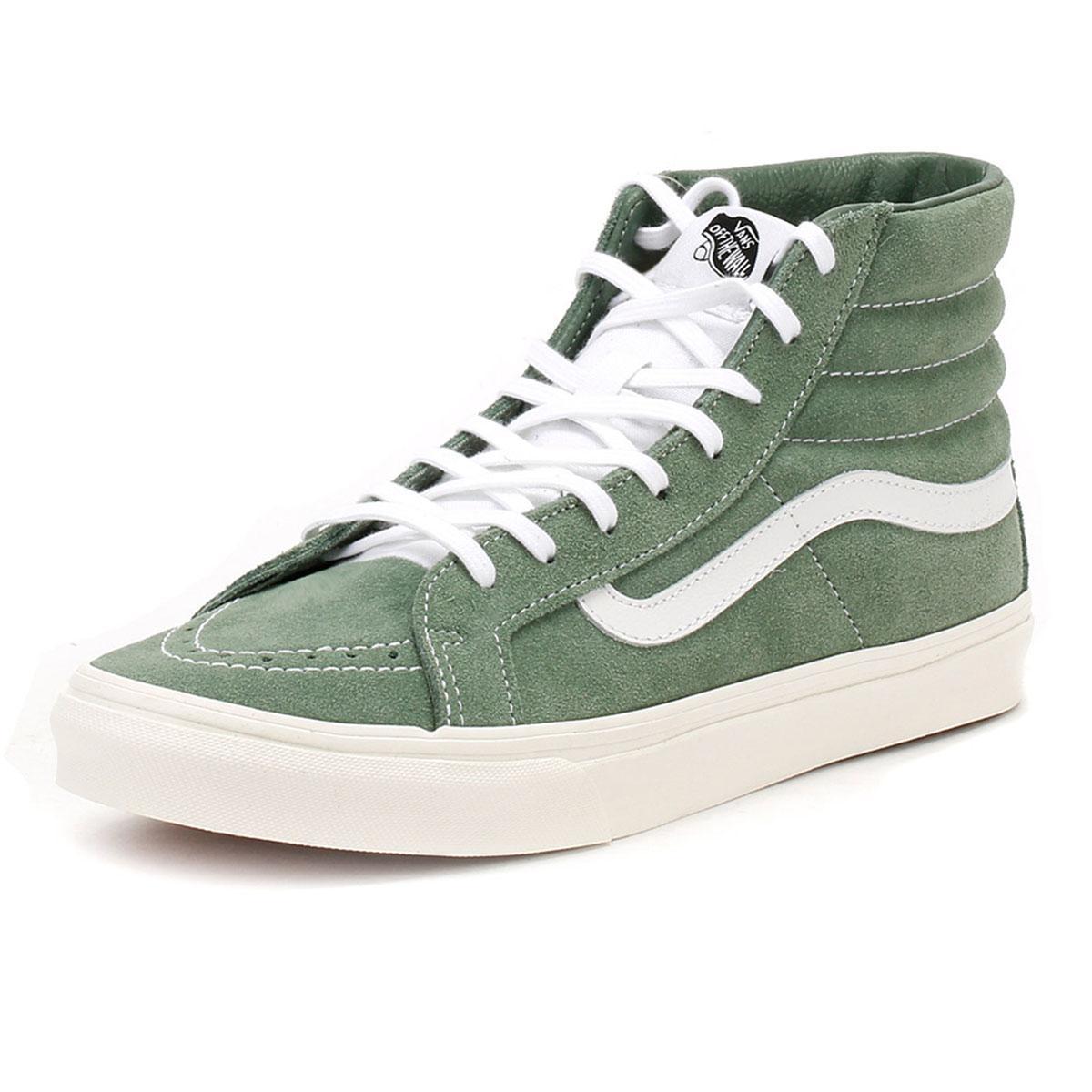 121397086afa Lyst - Vans Womens Green   True White Suede Sk8-hi Slim Trainers in ...