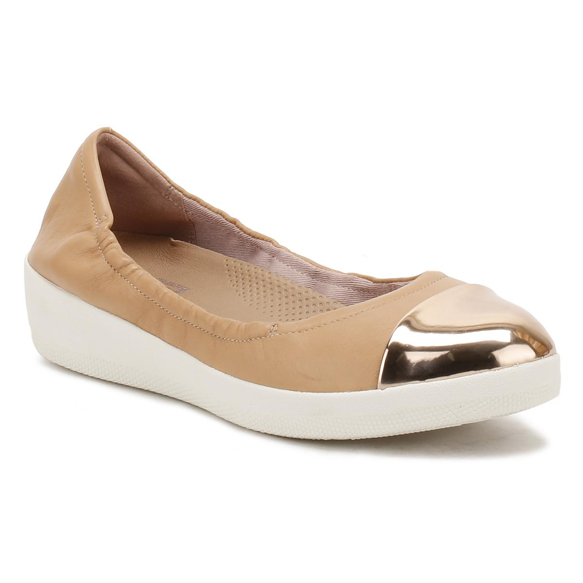 ecd9aff99b38 Fitflop Womens Nude Pink Superbendy Mirror-toe Ballerinas in Natural ...