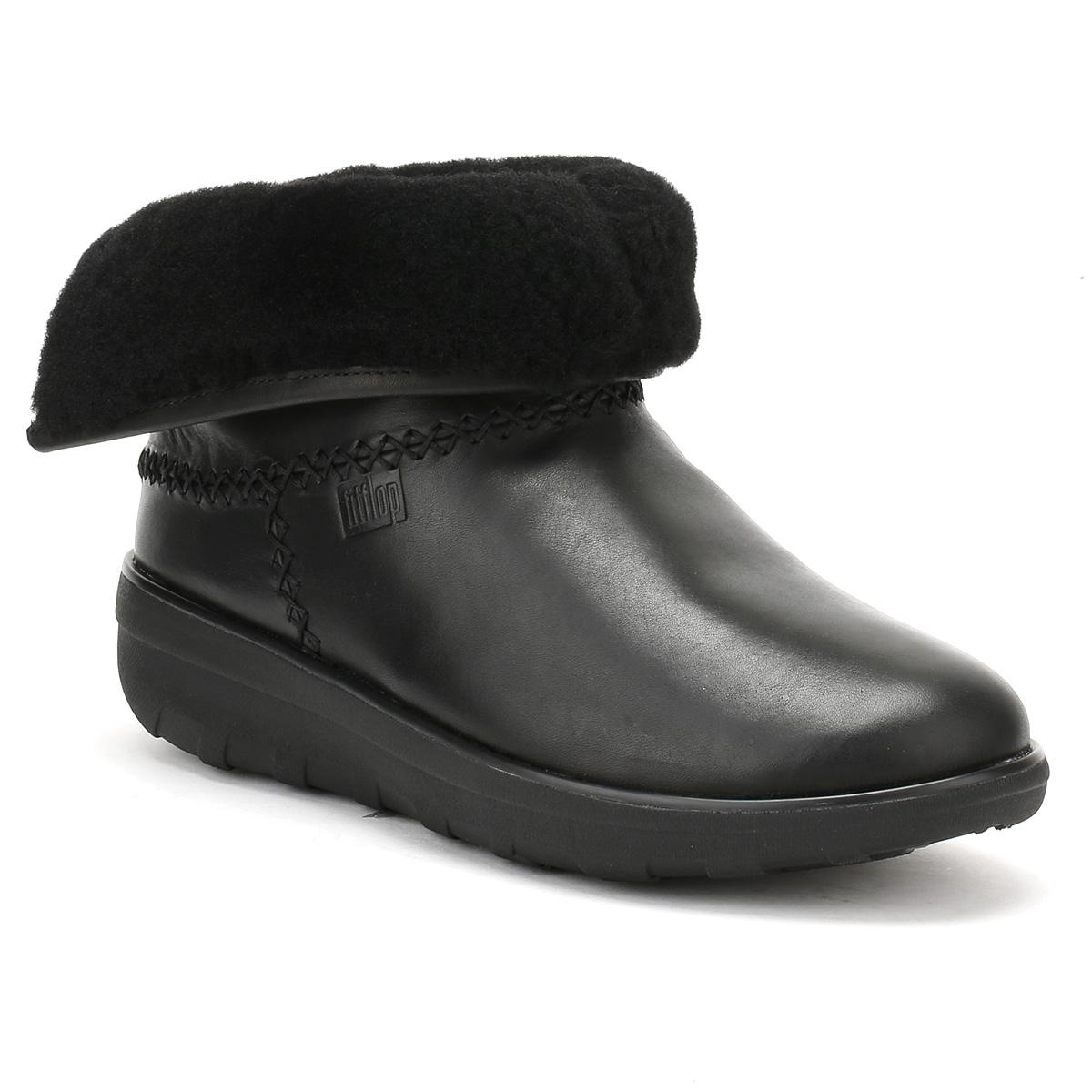 dcd8c3cff9bb7b Fitflop Womens Black Leather Mukluk Shorty Ii Boots in Black - Lyst