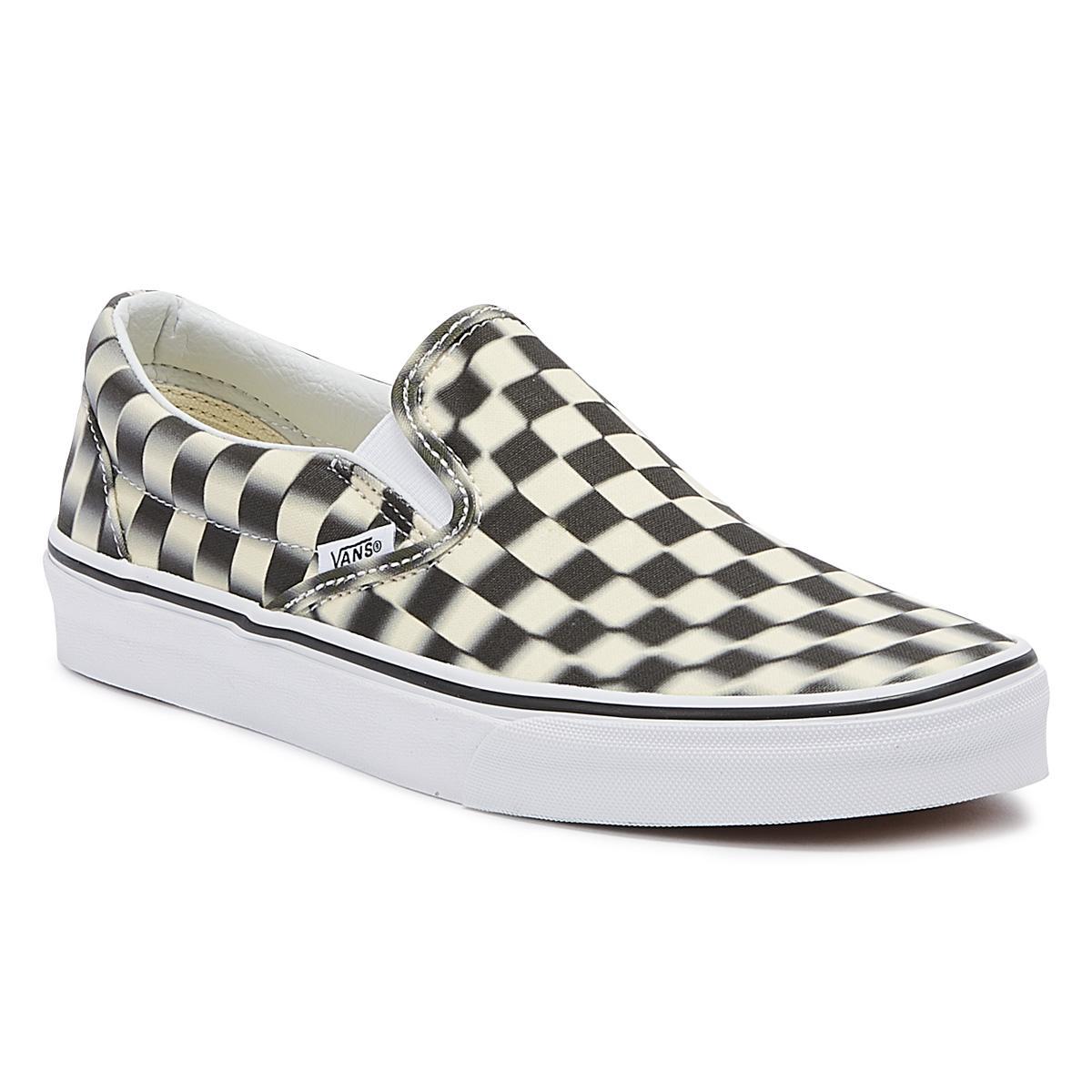 c85a7e0511 Lyst - Vans Classic Slip-on Black Blur Checkerboard Trainers in Black