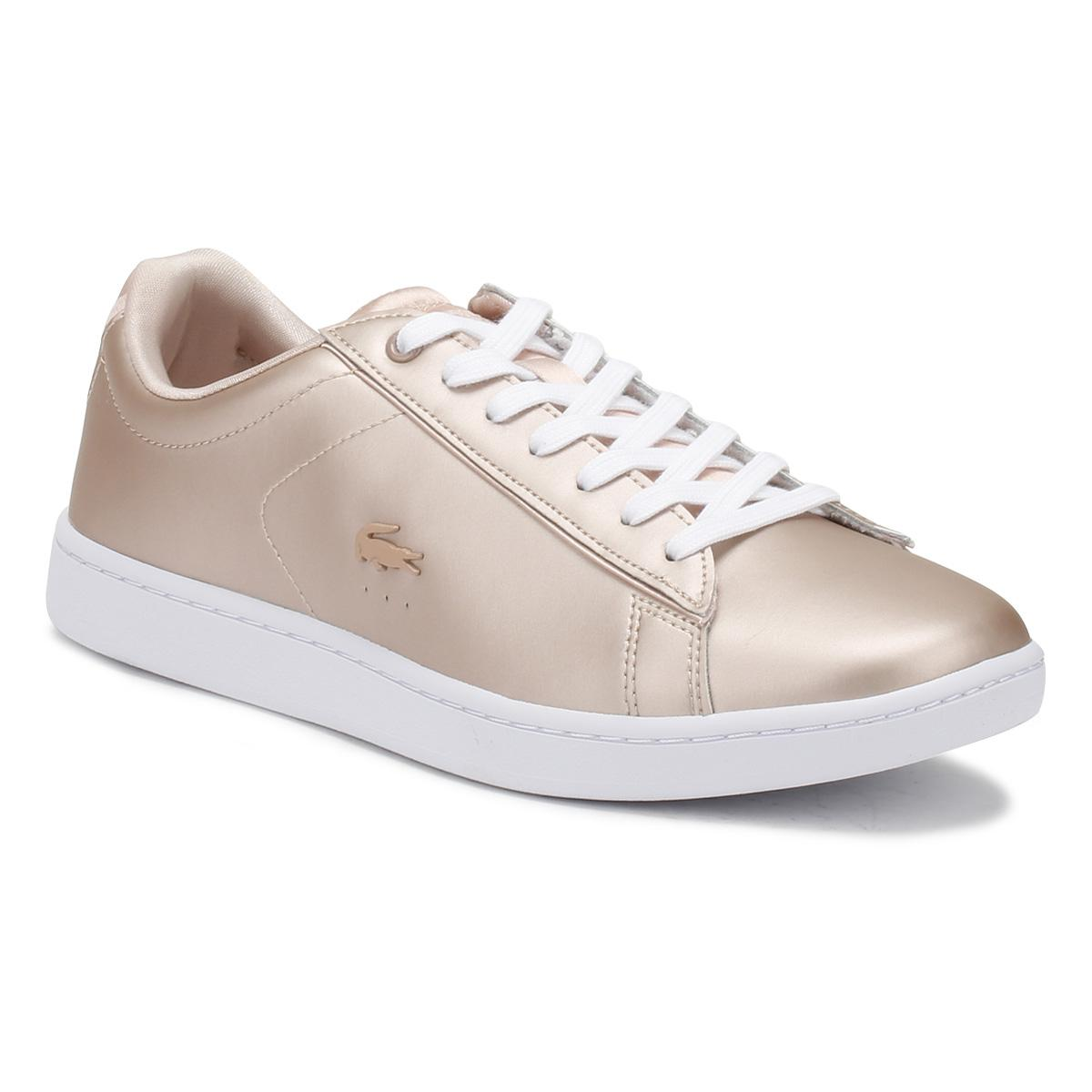 8074b273e5541f Lyst - Lacoste Womens Natural Tan   White Carnaby Evo 118 7 Trainers ...