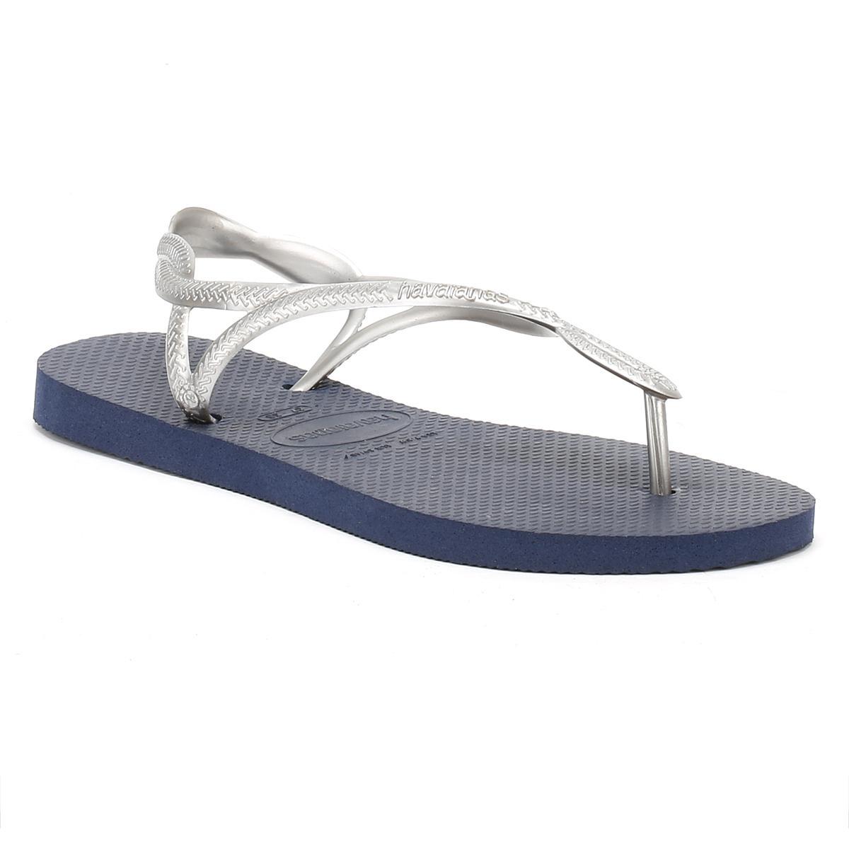 181681fbb608 Lyst - Havaianas Womens Navy silver Luna Sandals in Blue