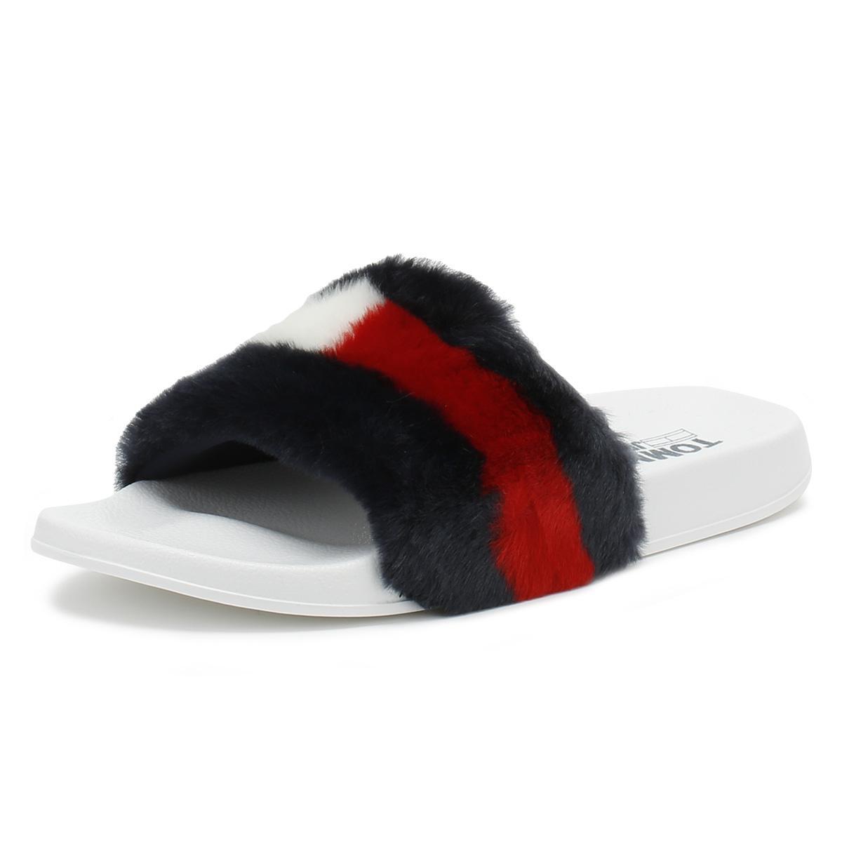 64ec93be297 Tommy Hilfiger - Multicolor Womens Rwb Funny Fur Pool Slides - Lyst. View  fullscreen