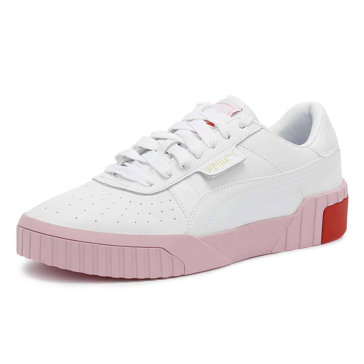 da9d28d8bae5 PUMA - Cali Womens White   Pale Pink Trainers - Lyst. View fullscreen