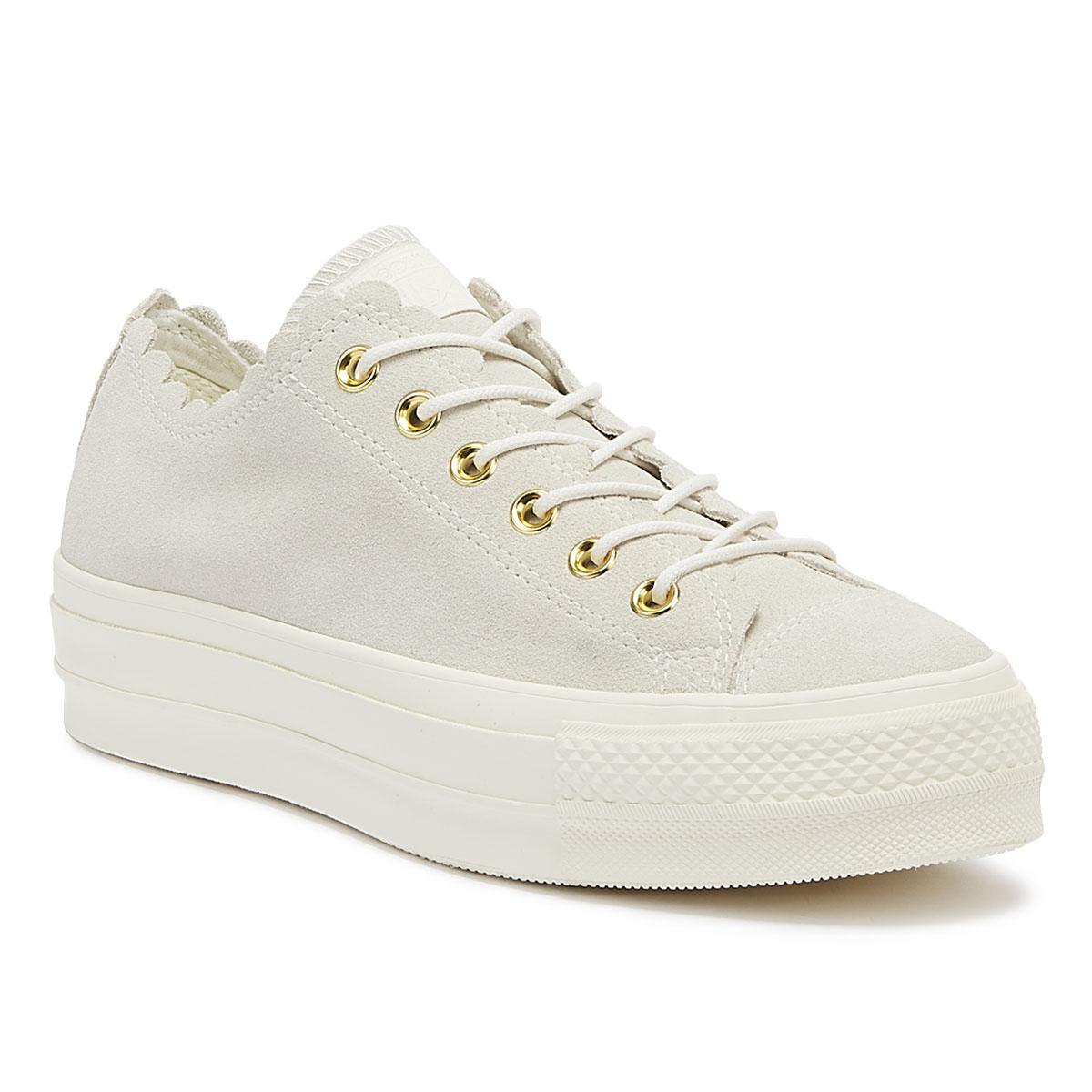 ef11d7fdc0cc Converse. Chuck Taylor All Star Lift Frilly Thrills Womens Egret Trainers