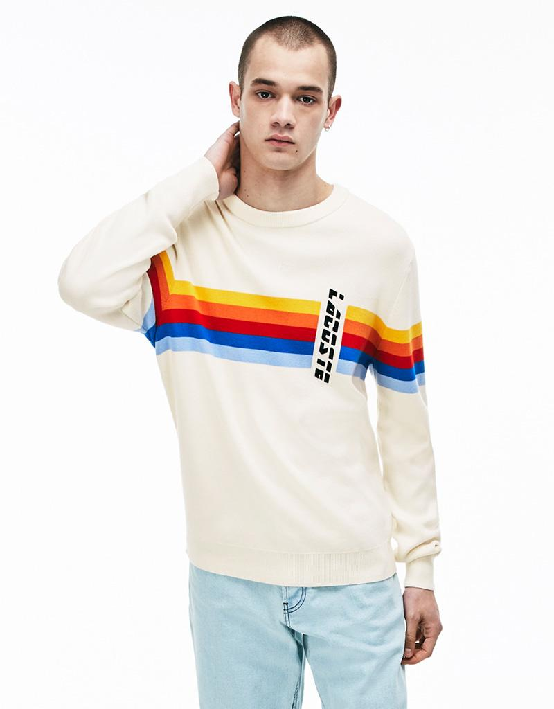 10fdbd2d4f Lacoste Rainbow Stripe Cotton Live Sweater in White - Lyst