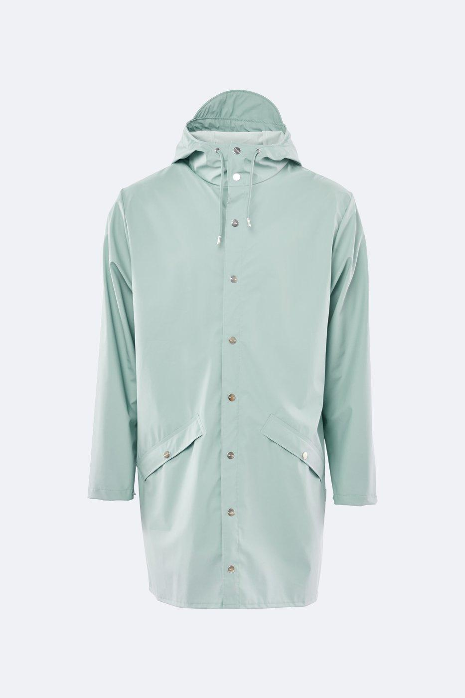 1f13cb50f Rains Functional Unisex Long Dusty Mint Rain Jacket With A Smooth ...