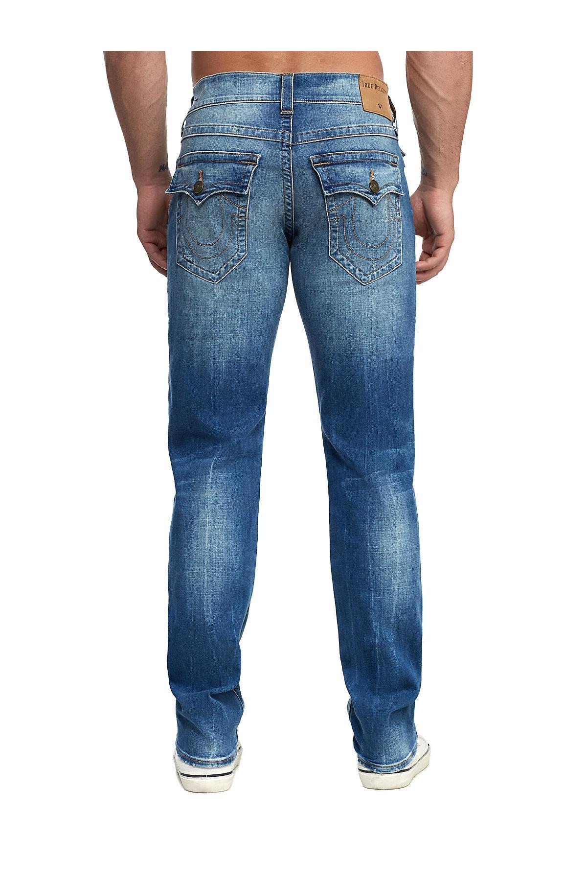 1f32a0eec True Religion - Blue Distressed Geno Slim Jean W  Flap for Men - Lyst. View  fullscreen