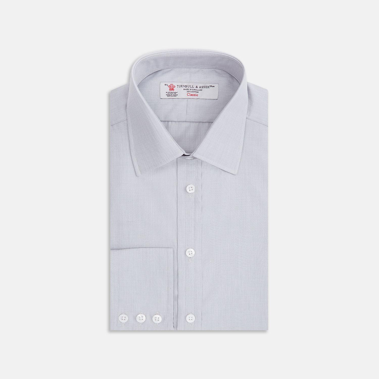 e388ac3fc8 Turnbull   Asser Light Grey End-on-end Cotton Shirt With Classic T a ...