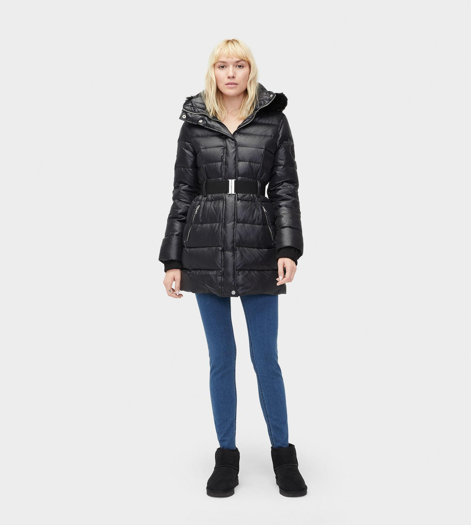 Ugg - Black Women s Valerie Belted Down Coat - Lyst. View fullscreen 7e167fb6c