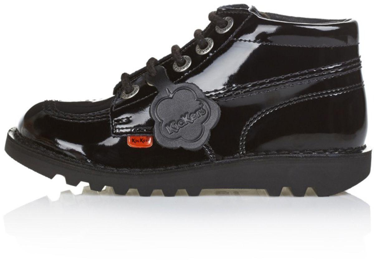 2fcdbe4f45 Kickers - Junior women s Kick Hi Classic Patent Shoes Black - Lyst. View  fullscreen