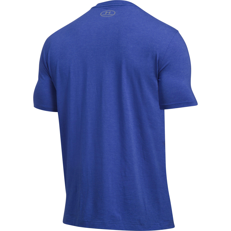 Under armour men 39 s ua california football t shirt in blue for Under armor football shirts