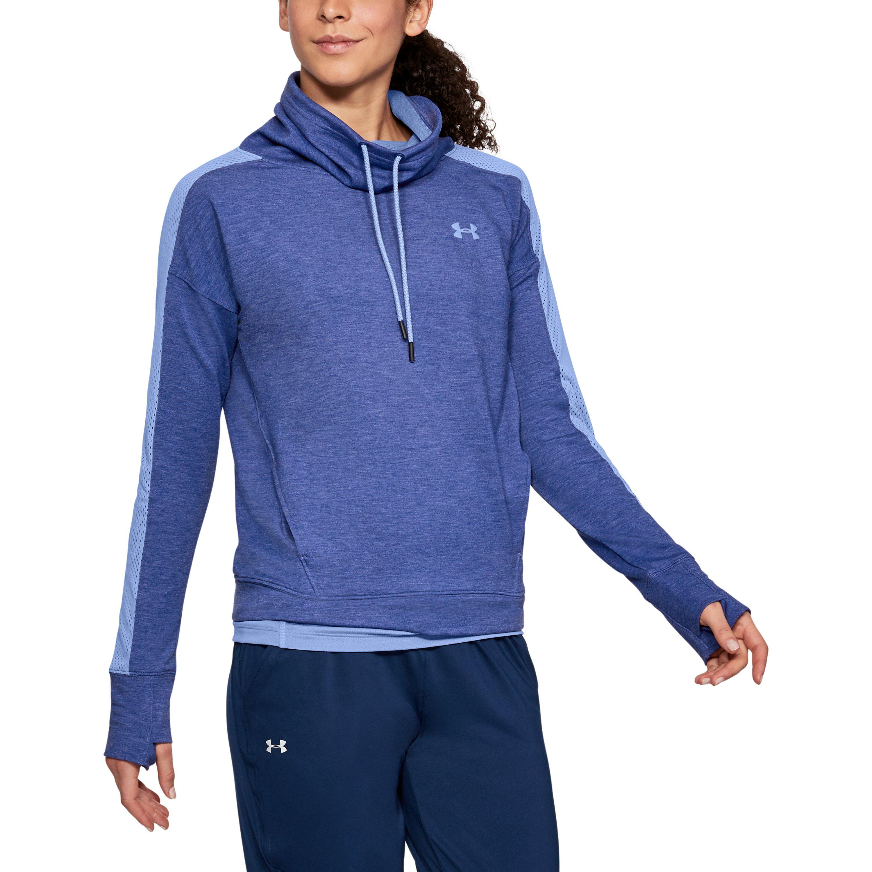 41bf456638e5 Lyst - Under Armour Women s Ua Featherweight Fleece Funnel Neck in Blue