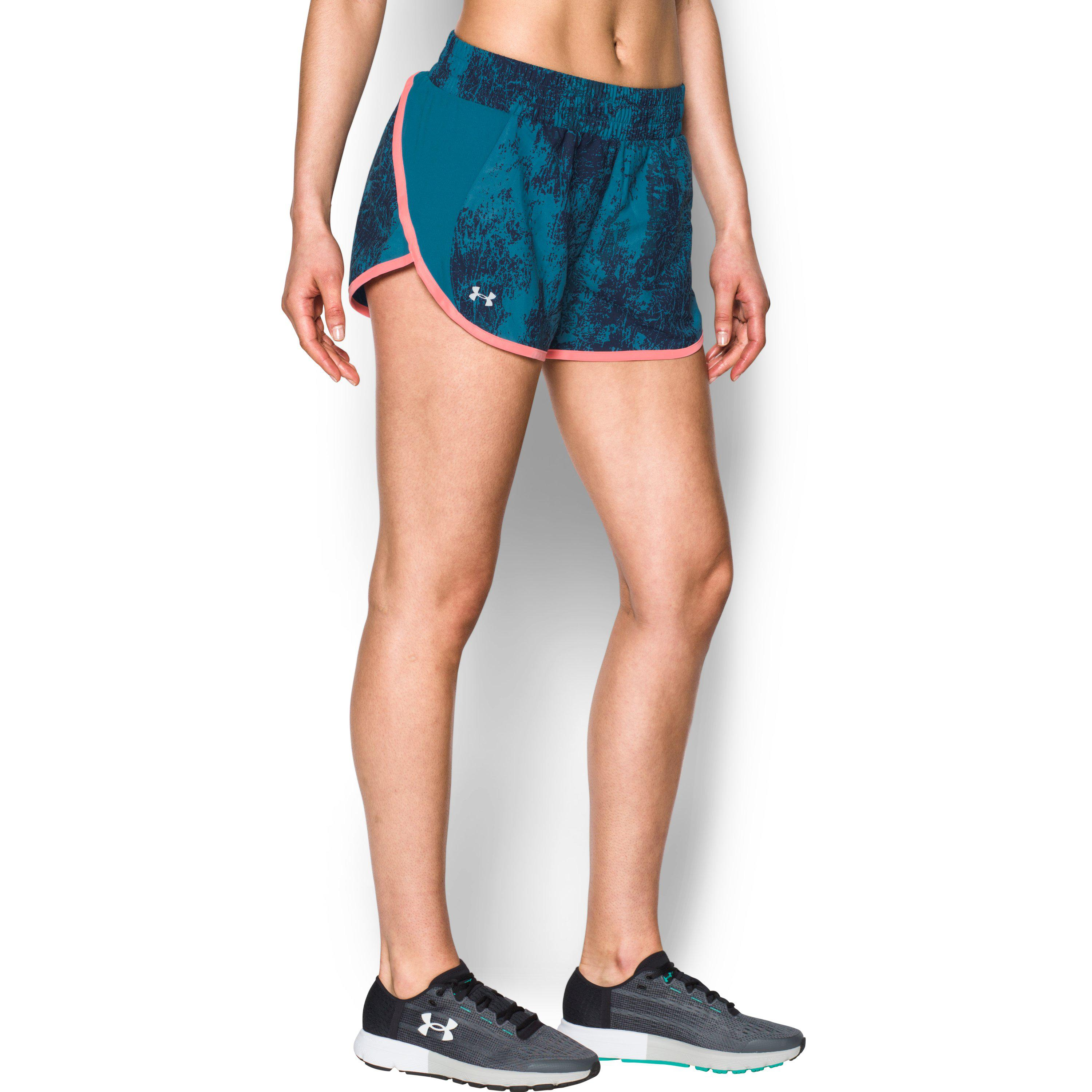 1f0f7758d Under Armour Women's Ua Launch Printed Tulip Shorts in Blue - Lyst