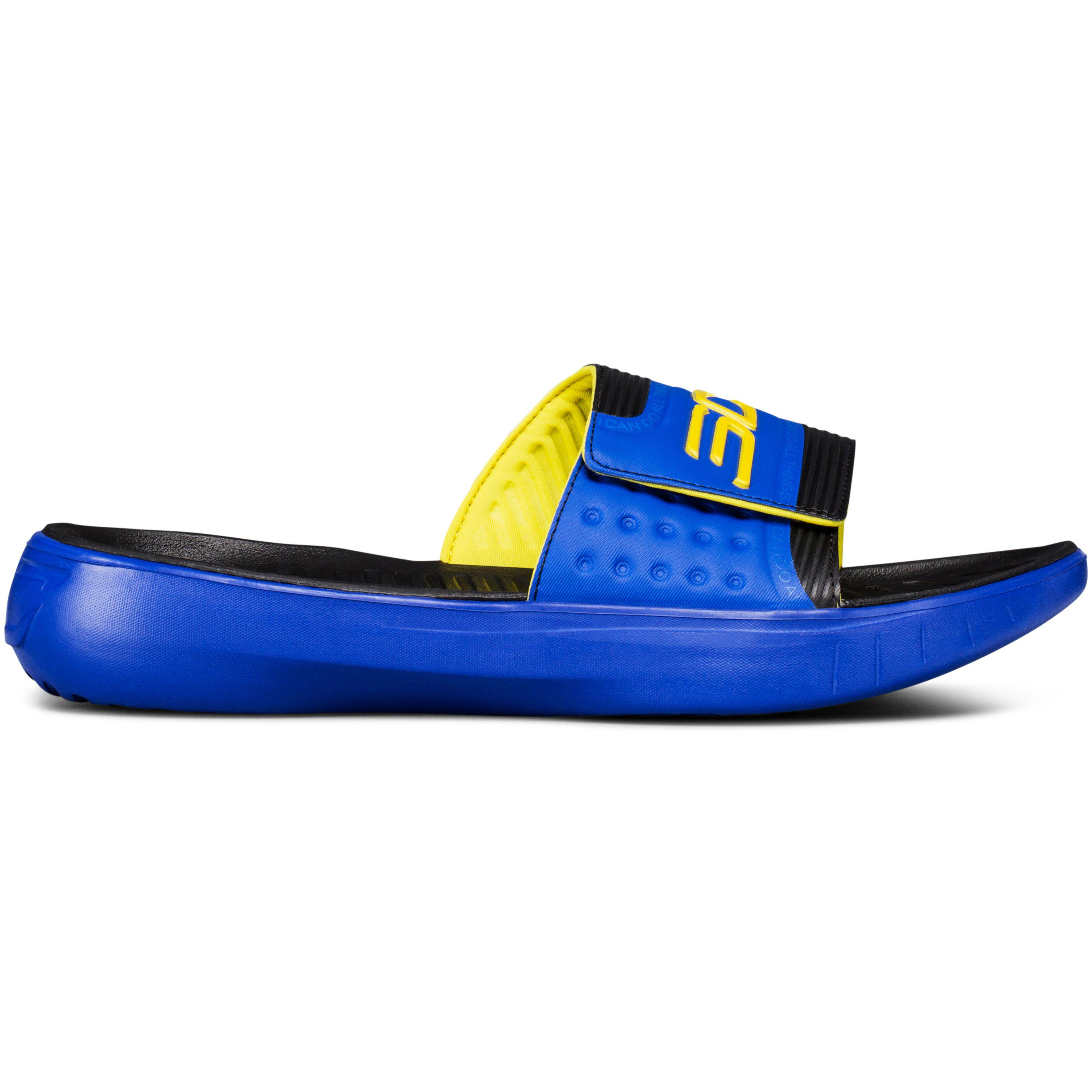 e226d4880c04 Lyst - Under Armour Curry 4 Slides in Blue for Men