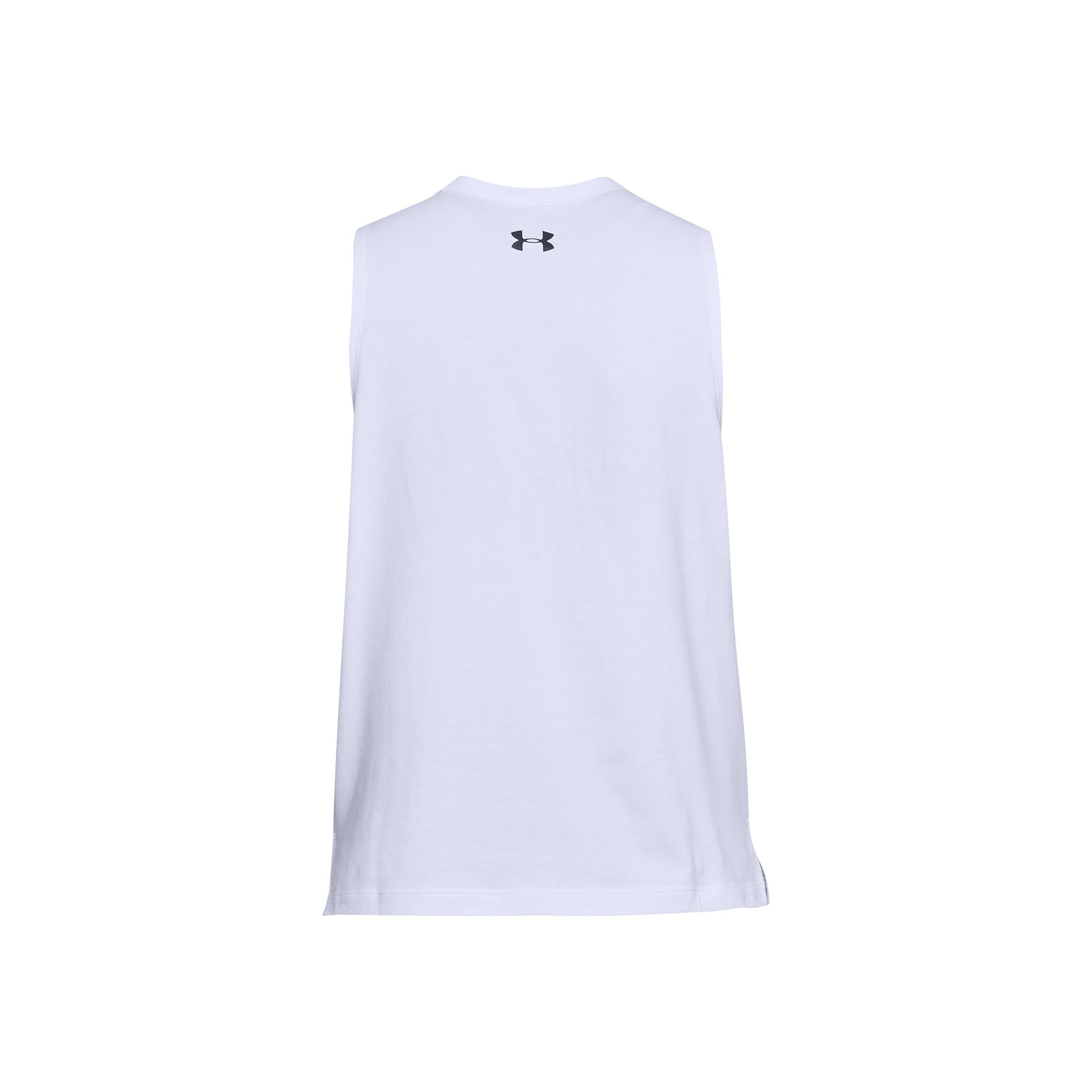cf16cd64 Under Armour Women's Ua Overlay Logo Muscle Tank in White - Lyst