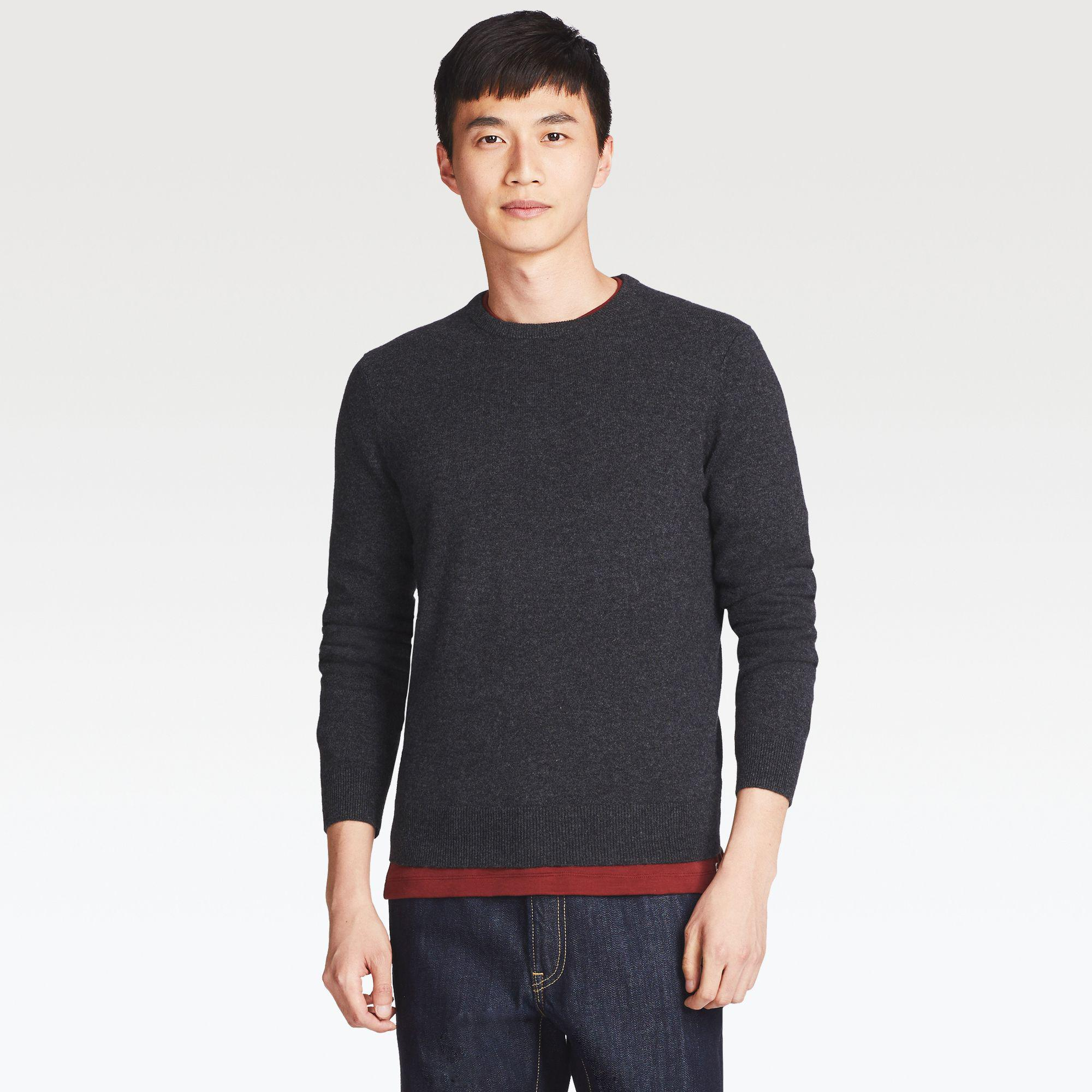 Uniqlo Cashmere Crew Neck Long Sleeve Sweater In Gray For Men Lyst