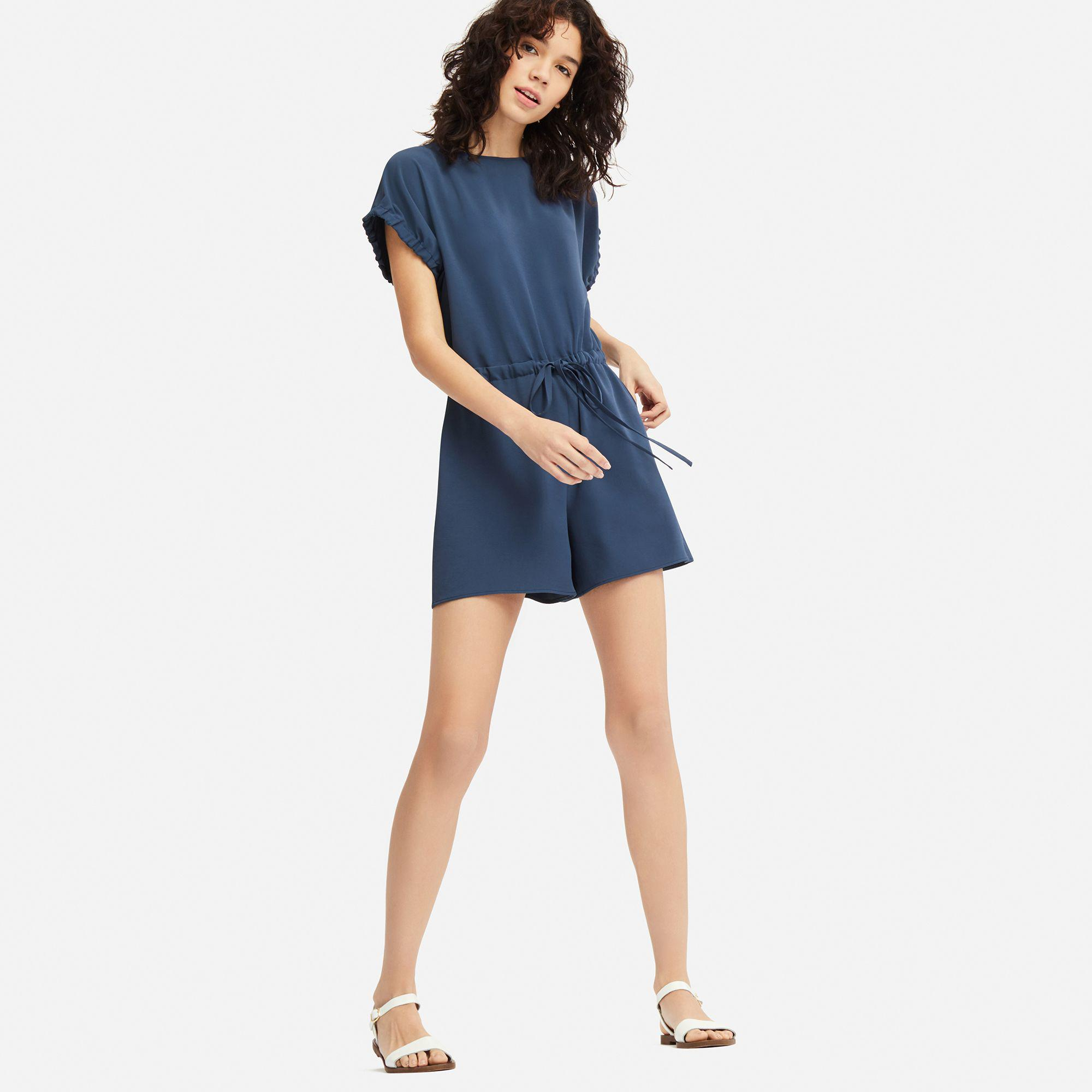 947a45e180b Uniqlo Drape Short Sleeved Playsuit in Blue - Lyst
