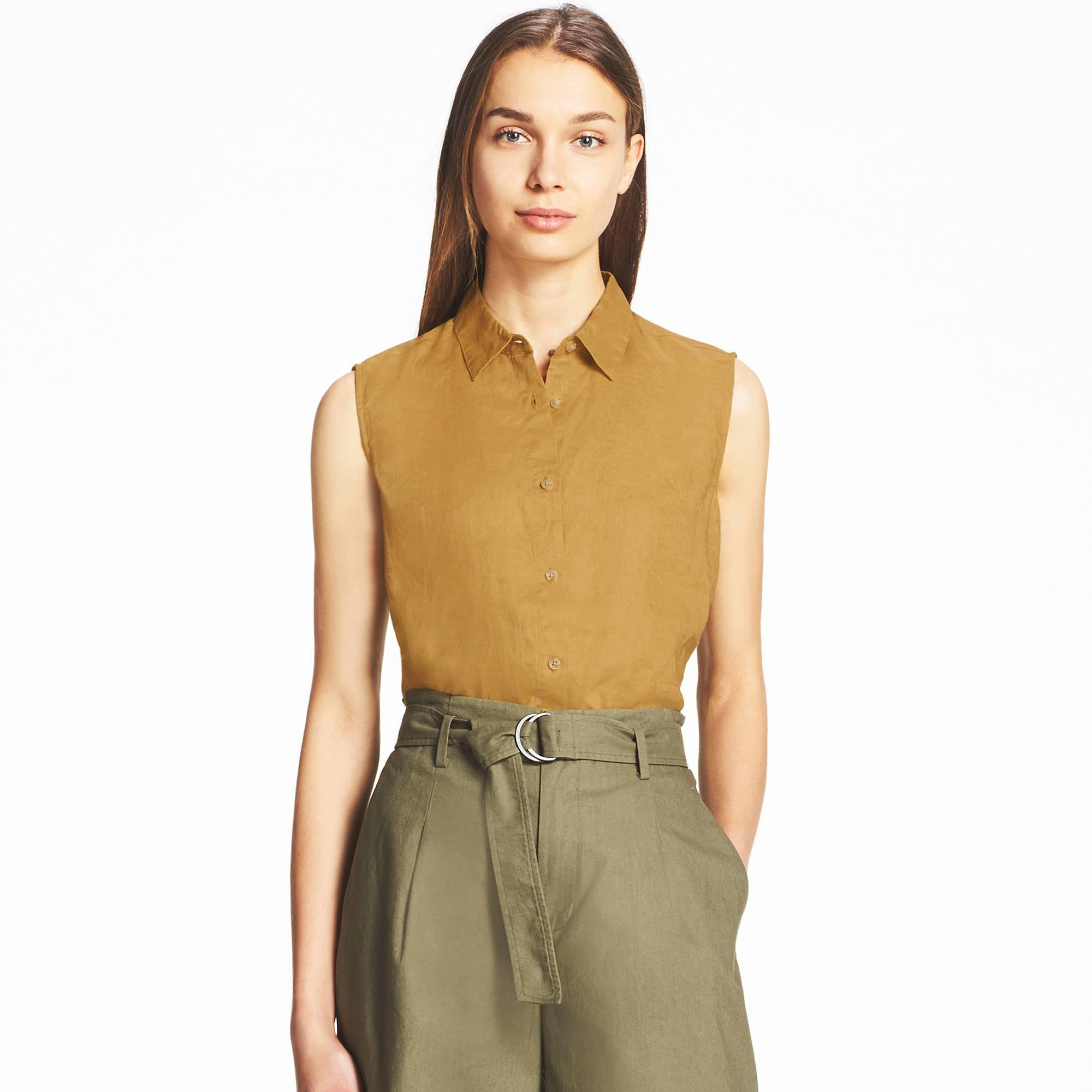 cca0e11fcaa17 Lyst - Uniqlo Linen Sleeveless Shirt in Yellow