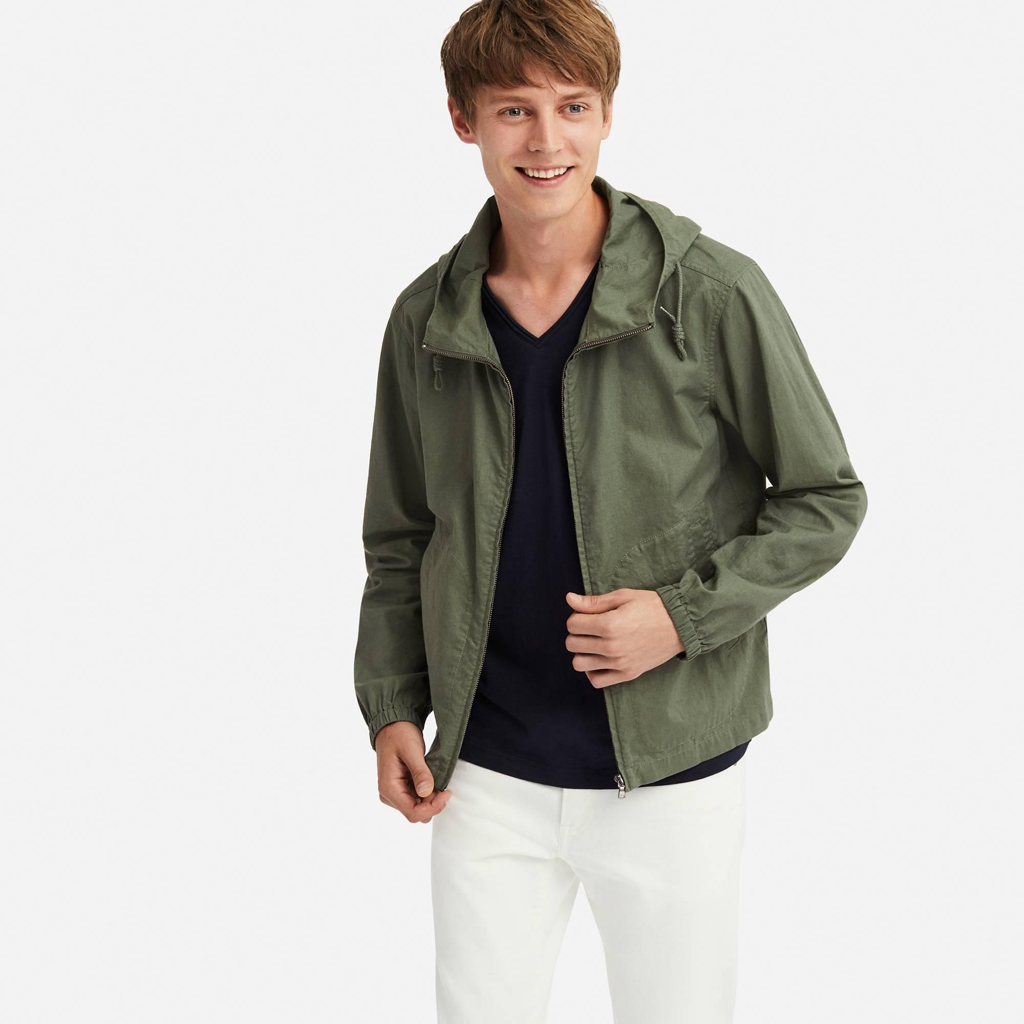 9443b2a312ec Lyst - Uniqlo Men Linen Cotton Full-zip Parka in Green for Men